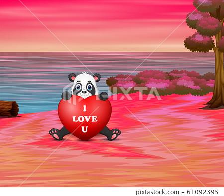 Cartoon panda holding red heart on the beach 61092395