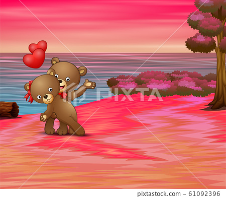 Valentines day concept with happy couple bear  61092396