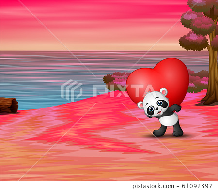 Valentine day with a panda hold red heart 61092397