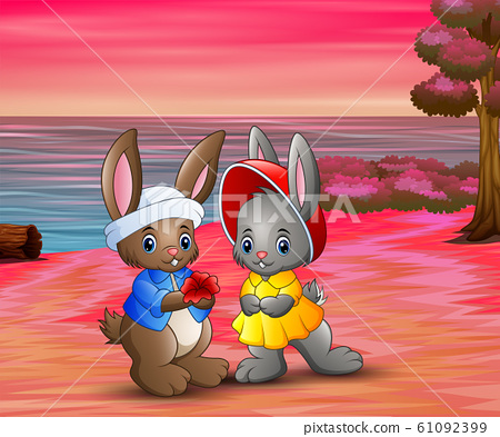 Romantic of loving rabbit couple on the beach 61092399