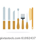 Tools of the beekeeper vector flat material design isolated object on white background. 61092437
