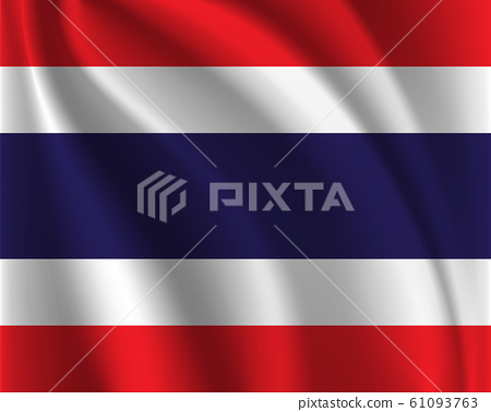 Thailand flag with fabric texture background. Flags waving. 61093763