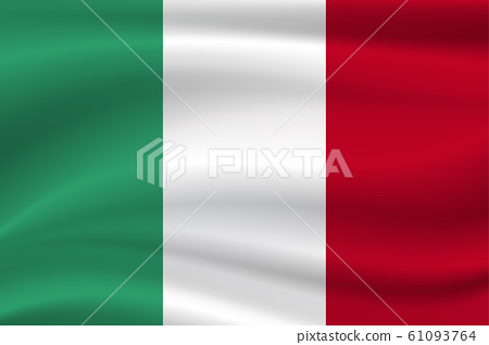 Italy flag on cloth with soft waves background. 61093764