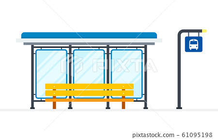 Public bus stop vector flat material design isolated object on white background. 61095198