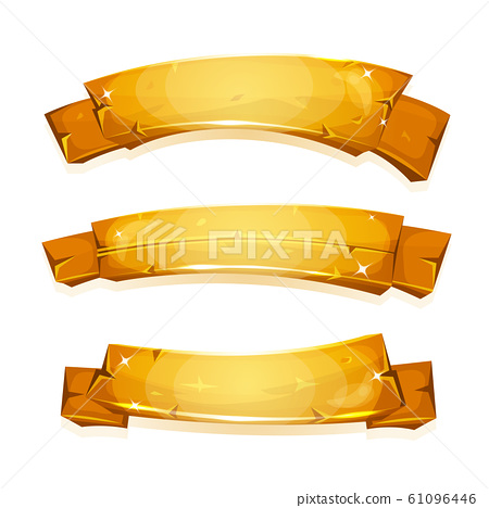 Comic Gold Banners And Ribbons 61096446