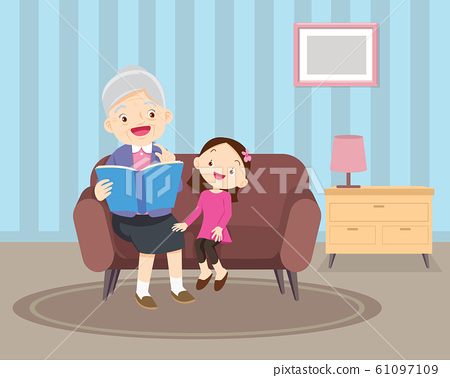 grandmother  sitting with grandchildren on sofa 61097109