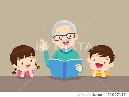 grandparents with grandchildren reading 61097111