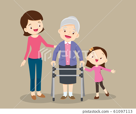 granddaughter and mom help her grandmother to go 61097113