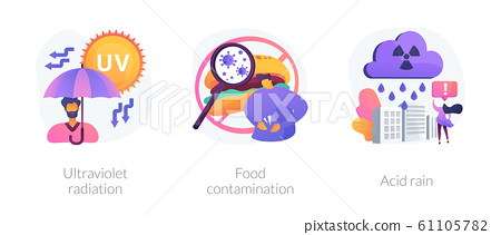 Radioactive effect, Earth atmosphere pollution, damage to human health vector concept metaphor. 61105782