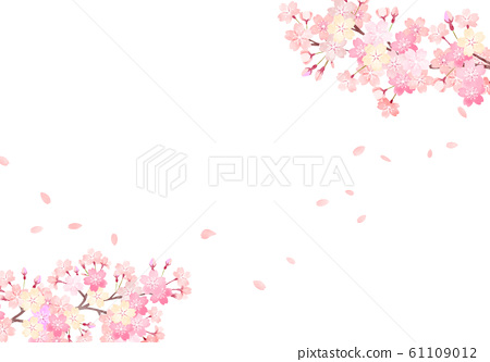 Watercolor hand painted wind cherry blossom background illustration 03 61109012