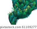 Tropical green leaf with nature concept landing page background template.Vector illustration. 61109277