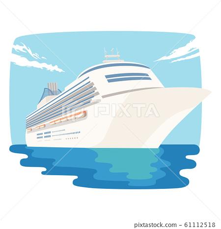 船的插圖。旅行在寬廣的世界的海的豪華遊輪。 61112518