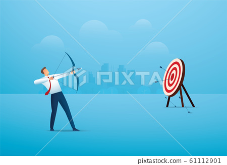 businessman with bow aiming the target. concept business vector illustration EPS10 61112901