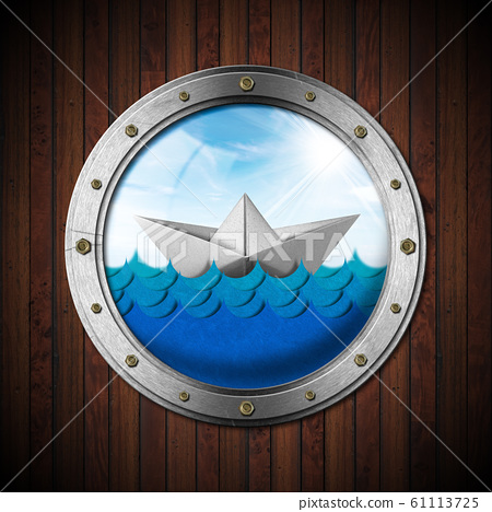 Paper boat in the blue waves of the sea seen through the porthole 61113725
