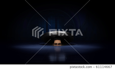 Thief inside manhole 61114667