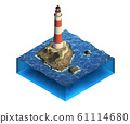 Isometric illustration with lighthouse on the 61114680