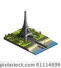 Eiffel tower isometric view 61114696