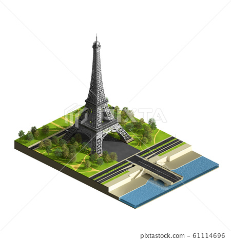 Eiffel tower isometric view 61114696