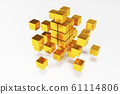 3D gold block cubes on dark background. 3D rendering 61114806