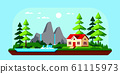 Family cottage house in the forest, Flat design illustration. 61115973
