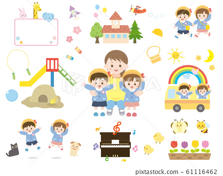 Illustration material of cute kindergarten and teacher 61116462