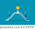 Two businessmen use different way by escalator and stair. to success concept vector 61118791