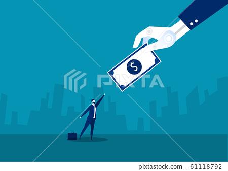 Businessman running for dollar employee concept blue backround 61118792