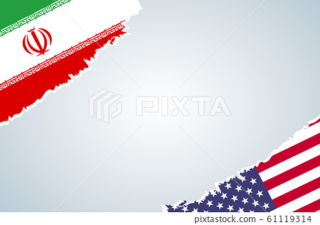 Flags of Iran and USA for banner or poster design 61119314