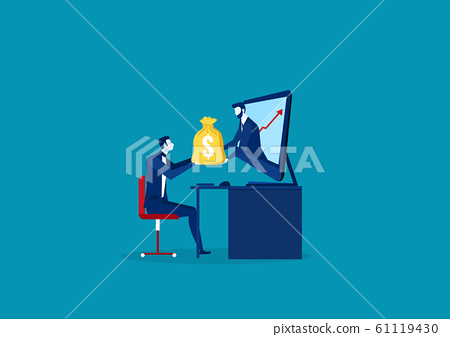 Business Man Receiving Money from Laptop. Vector illustration 61119430