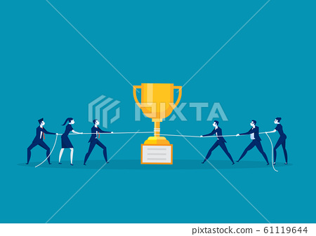team business pull the rope with trophy concept. 61119644