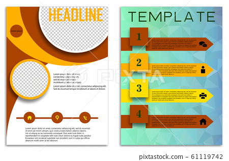 Infographics in brochures for minimalist design style on a white background. Use in presentation templates, flyer and leaflet, corporate report, marketing, advertising, annual report and banner. 61119742