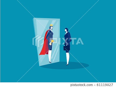businesswoman looks in the mirror and sees super queen. Confident power. Business leadership. on blue background vector illustrator 61119827