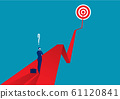 Businessman thiking on red arrow. Symbol of business goals, aims, mission, opportunity and challenge. Vector illustration. 61120841