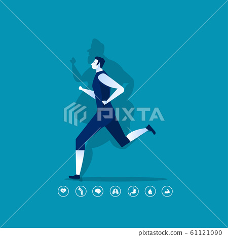 man fat turning into silhouette Thin for health on blue background graphic 61121090