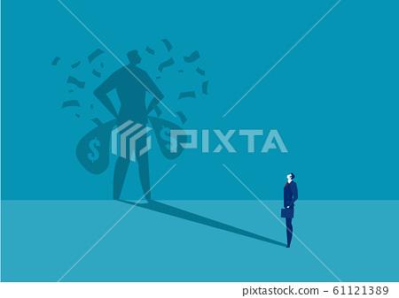 business man looking  his shadow rich under money rain success concept vector. 61121389