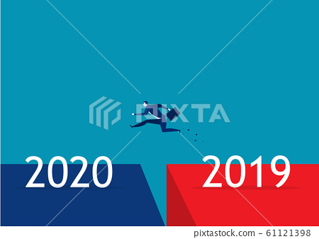 business people jumping from year 2019 to new year 2020. concept 61121398