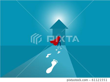 Hero businessman walking forward to arrow to success 61121551