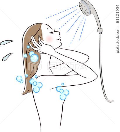 女人洗頭髮淋浴時間 61121954