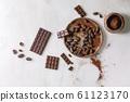 Dark chocolate with cocoa 61123170