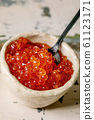 Red caviar with bread and butter 61123171