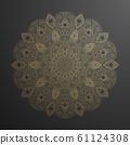 Gold mandala pattern. Abstract gold on black floral vector art. Golden flower in indian motive. Luxury lace decoration. Round ornament asian ethnic circle. Decorative arabic backdrop. Beautiful decor 61124308