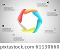 Hexagon infographic template created by six curved 61130660