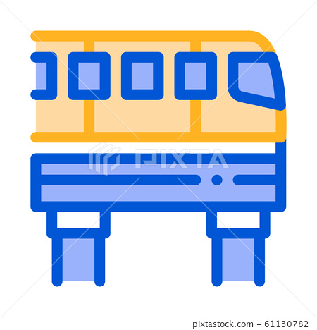 Public Transport Monorail Vector Thin Line Icon 61130782