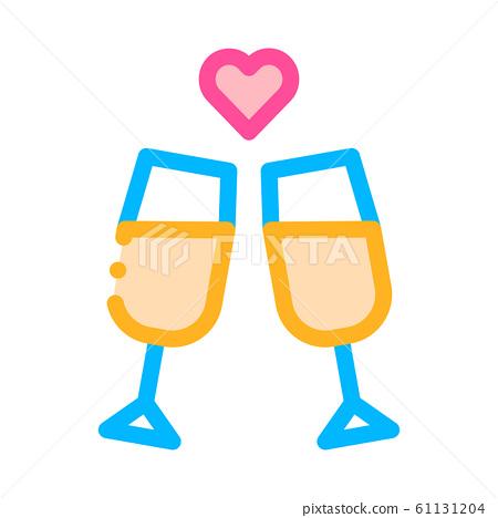 Champagne Glasses Wedding Ceremony Vector Icon 61131204
