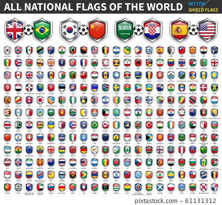 All national flags of the world . Shield flag 61131312