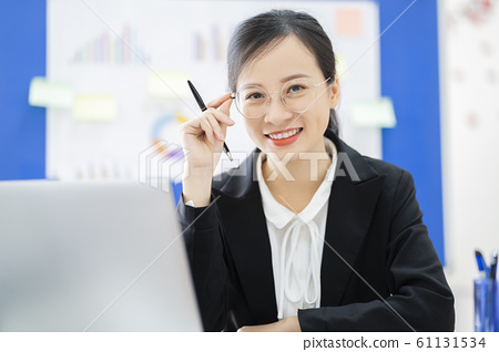 business woman, reading, smile 61131534