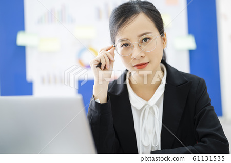 business woman, reading, smile 61131535