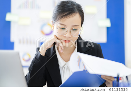 business woman, reading, smile 61131536