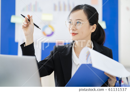 business woman, reading, smile 61131537