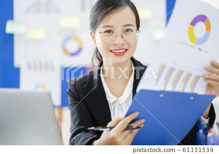 business woman, reading, smile 61131539